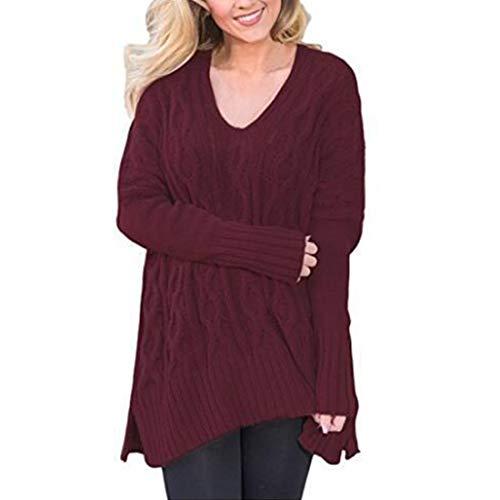 Damen Pullover Langarm Freizeit V-Ausschnitt Longpullover Rippchen Tops Damen Mode Twisted Cross Strickpullover Casual Einfarbige Ripppullover T-Shirts Tops XL