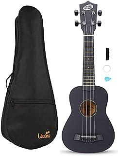 SHINEDOWN 21 inch Ukulele Black Spruce Sapele Ukulele Set with Bag,Strap,Pick,and Extra Strings (Black with Bag)