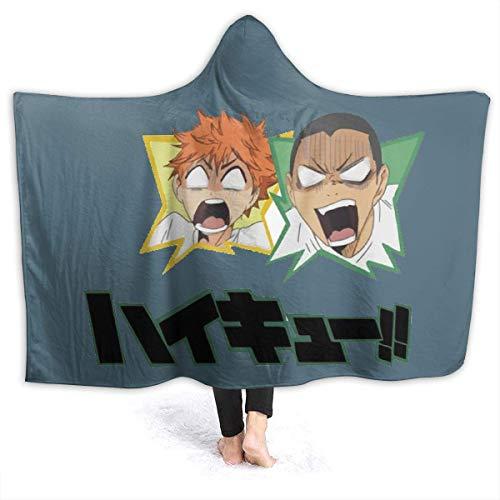 Haikyuu! Sugawara Coperta con cappuccio da indossare mantello caldo peluche super morbido e leggero flanella per divano letto per tutte le stagioni S (127 x 101,6 cm) per bambini