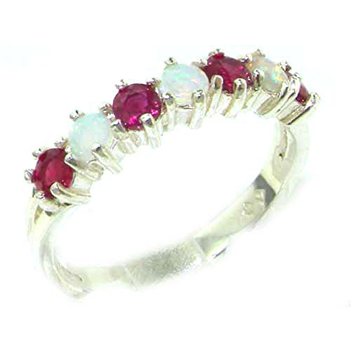 Solid 18ct White Gold Ruby & Opal Ring for Women set with Natural Gemstones Eternity Band Ring - Size L
