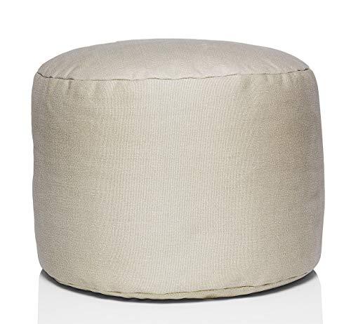 Fatboy® Point Stonewashed Taburete en Algodón | Beige | Asiento Redondo | Puf/Puff de Moda/reposapiés/mesita | 35 x ø 50 cm