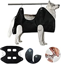 Pet Grooming Hammock for Dog Nail Clipping Assistant Restraint Belt, Cat/Dog Black Breathable Grid Trim Nail Combing Bag Two Hooks