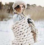 DIRUNEN Chunky Knit Blanket Bulky Throw Merino Wool Hand Made Bed Sofa Throw Super Large (Camel,32'×40')