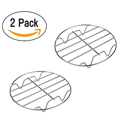 Bamboo's Grocery 11 7&8 Inch Cooking Round 304 Stainless Steel Baking and Cooling Steaming Rack w Stand Cookware Fit for Air Fryer Instant Pot Pressure Cooker Canning Set of 2, 7' 8', Sliver
