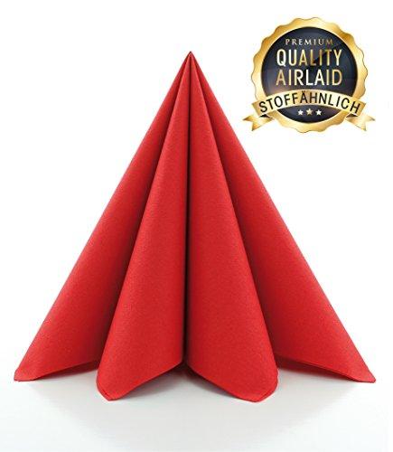 Prime Guest Servietten ROT | Premium Edition für Hochzeiten und Feiern Airlaid | stoffähnlich | 50er Packung | 50 Stück | 40 x 40 cm | ¼ Falz