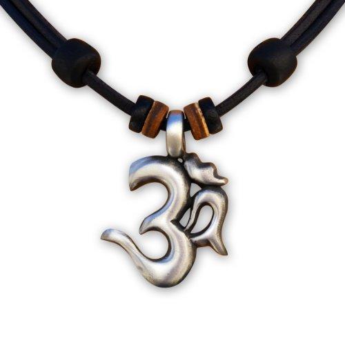 HANA LIMA ® Lederkette Om Shiva Buddha Indien Halskette Surferhalskette