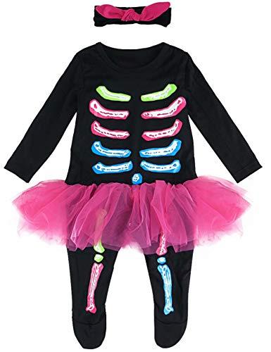 MOMBEBE COSLAND Disfraz Esqueleto Bebé Niña Mono Halloween Tutú (Esqueleto, 3-6 Meses)