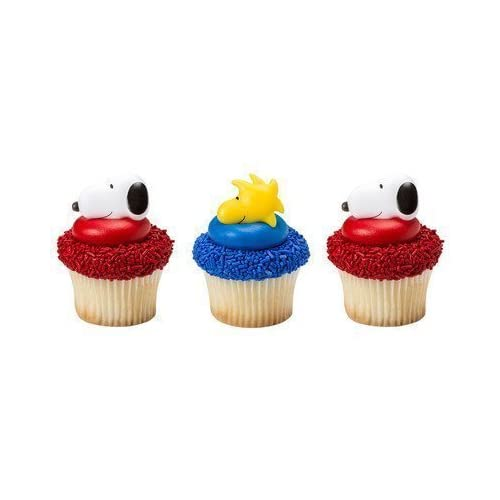 Snoopy Peanuts Cupcake Toppers Party Decorations Craft Boutique Set of 24 NEW