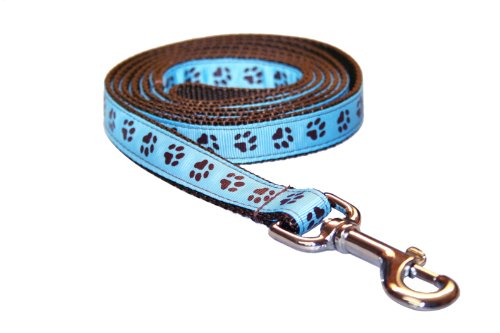 Medium Blue/Brown Puppy Paws Dog Leash: 3/4' Wide, 6ft Length - Made in USA.