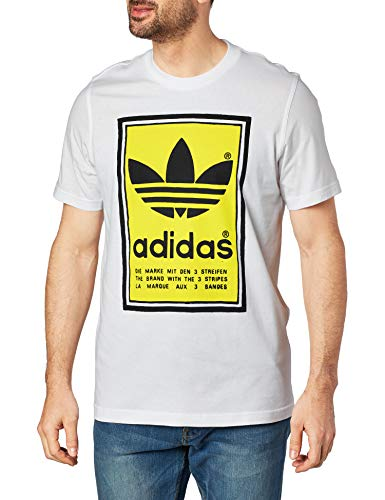 adidas Filled Label T-Shirt pour Homme M White/Yellow