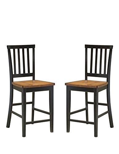 Imagio Home 24' Arlington Slat Back Barstool Black and Java Finish, Set of 2