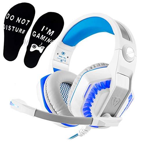 Weiß PS4 Gaming Headset für PC, PS5, Xbox One,Over-Ear Headphone mit LED Lichter, Playstation 4 Gamer Kopfhörer mit Rauschunterdrückung Mikrofon für Nintendo Switch Laptop