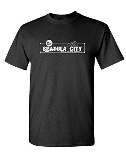 The Goozler Spatula City - Funny Comedy Film Newman - Mens Cotton T-Shirt, M, Black