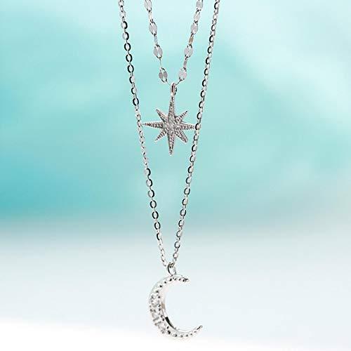 ZHIHUIYU Collar de Estrella de Luna de Doble Capa de Plata de Ley 925, Collar de Mujer, Cadena de clavícula, joyería Fina, Accesorios para Fiesta de Boda