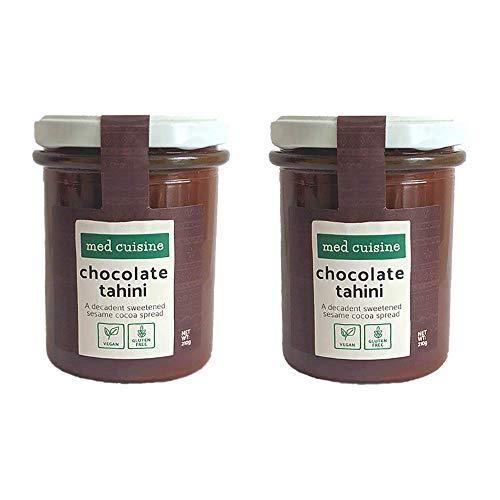 Med Cuisine Schokoladen Tahini-Aufstrich - Vegane Sesampaste mit Kakaopulver - 100% Vegan natürliches Tahini - Gemahlene geröstete Sesamkörner - glutenfrei - Keto- und Paläofreundlich 210g