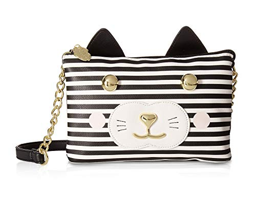 Take flight into the stars with the Luv Betsey® Doublz Kitch Double Crossbody. Made of man-made material. Top zipper closure with key-chain detail. Chained cross-body strap. Exterior flaunts unicorn kitty design with glitter detail. Lined interior fe...