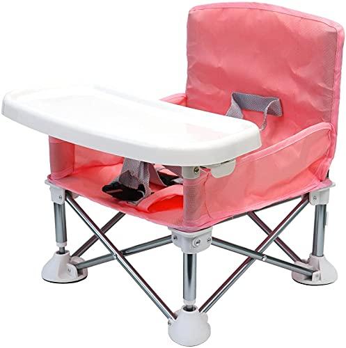 TOBAU ベビーチェア アウトドア 携帯 テーブルチェア 折りたたみ 6ヵ月から3歳まで ポータブル ベビーシート 赤ちゃん キッズ 幼児 椅子 屋内 屋外 収納バッグ付き (ピンク)