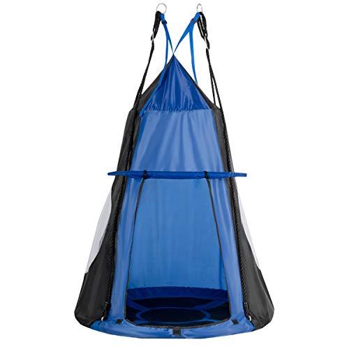 COSTWAY Ø 100cm Nestschaukel mit Zelt, Gartenschaukel bis 150kg belastbar, Kinderschaukel mit Tür und Fenster, Tellerschaukel für Indoor und Outdoor, inkl. höhenverstellbarem hängendem Seil (Blau)