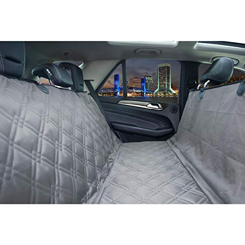 Bulldogology Premium Dog Car Seat Covers - Bench and Hammock-Style Backseat Cover and Protector - Waterproof, Double-Stitched GSM Oxford Material - Adjustable Headrest Straps (Large, Grey)