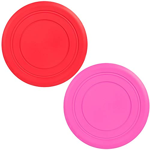 IWILCS Frisbee Hund, Hundefrisbee, 2 Stück 18cm, Hunde-Frisbee aus Natürlichem Kautschuk, Hunde Frisbee Schwimmend, für kleine und mittelgroße Hunde -Purple/Red/Pink (Random Colors)