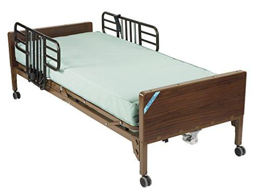 Drive Medical Delta Ultra Light Full Electric Hospital Bed Mattress, Half Rails & Innerspring