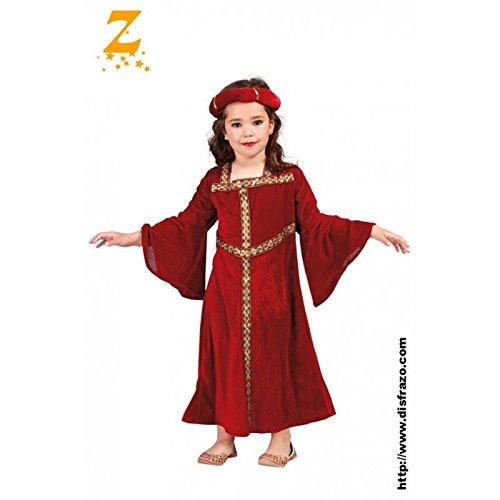 Guirca - Disfraz Dama Medieval para niña, color rojo, 81287