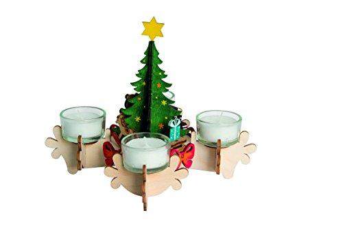 Drechslerei Kuhnert - Hobaku Bastelset/Adventskranz/Teelichthalter - Weihnachtsbaum - aus Holz zum Zusammenbauen - Made in Germany