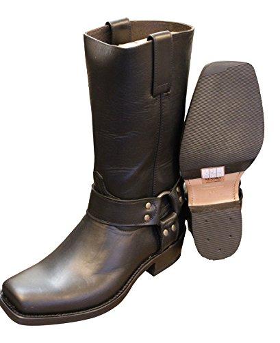 Sendra Cowboystiefel Bikerstiefel Stiefel 8833 in schwarz incl. Roy Dunn´s Lederfett und Stiefelknecht (45)