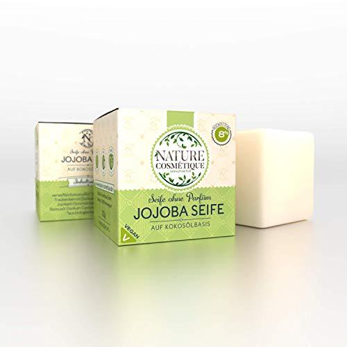 Bio Jojoba Seife 120g vegan und Bio aus Handarbeit, ohne Parfum, nur natürliche Inhaltsstoffe aus Kokosöl und Jojobaöl, kaltgerührt, 8% rückfettend,
