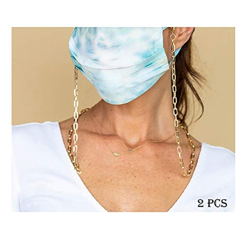 2 pcs Face Mask Holder Chain Necklace weight light Face Mask Chain | Mask Strap | Mask Holder | Mask Lanyard | Mask Retainer | Necklace for Mask | Leather Mask Carrier | Gold Chain | Women Men Children kids(1#)