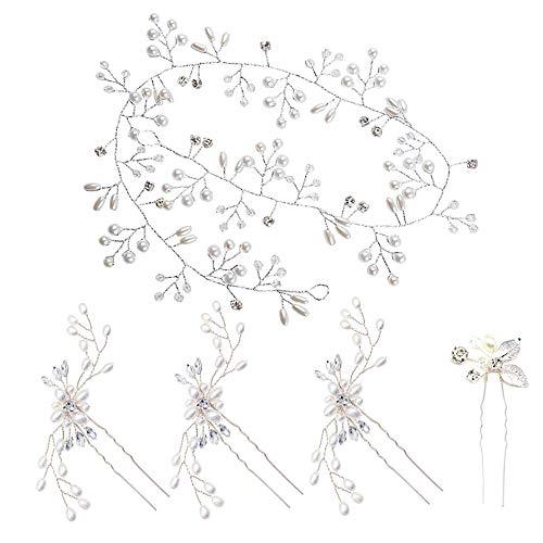 Nsiwem Brautschmuck Haarschmuck Kopfschmuck Braut Haarschmuck Hochzeit Stirnband Haardraht Perlen Strass Strassbesatz Haarband Stirnband mit Kristall 50cm für Braut Mädchen