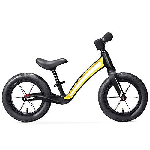 JIEXIAO Equilibrio de Coches para niños sin pie Moto Scooter de Dos Ruedas de la Bicicleta al Aire Libre Deportes de la Fuerza de Balance Ejercicio Deportes de la Ilustración,Amarillo