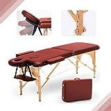 Mesa de Masaje Plegable de 2 Secciones Camilla Porttil, Altura Regulable Camilla de Masaje Rojo