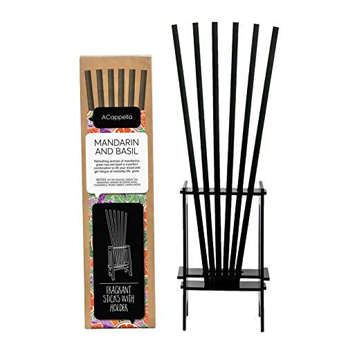ACappella Palos Pre-Fragranced difusor de lámina con Soporte mandarín y albahaca - Perfume de Habitaciones Sticks Gift Set - No líquido Necesario - 3 x 6 Piezas (Pack de 3)
