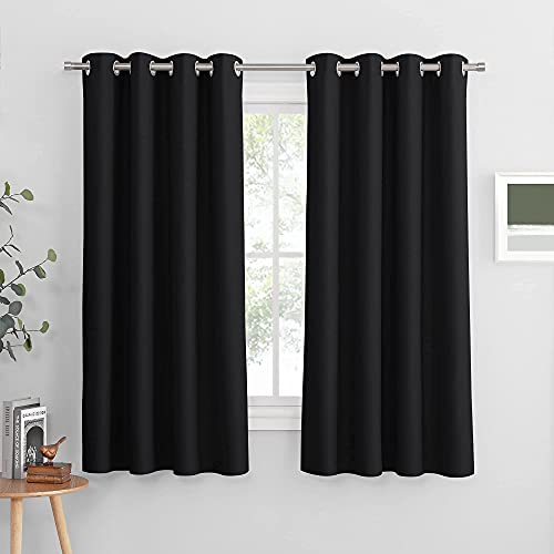 PONY DANCE Black Out Window Curtains - Thermal Bedroom Drapes Light Blocking Blackout Shades Curtain Panels Home Decor Privacy Protect for Living Room, 52 by 63 Inches, Black, 2 Pieces