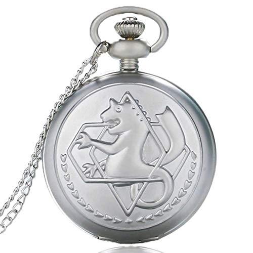ZMKW Reloj de Bolsillo de Cuarzo Plateado Retro de Bolsillo, Moda para Hombre, Anime japonés, Collar de alquimista de Metal Completo, Relojes, Regalo para Chico, Cadena de 30 cm