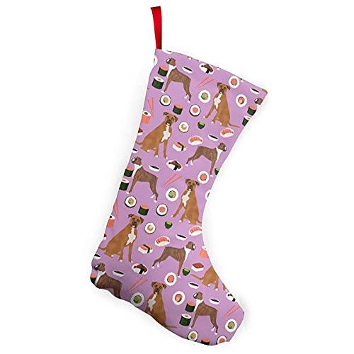 Boxer Sushi Perro Lindo Japonés Mejores Palillos Medias Temáticas Navidad Calcetines Ornamento 10 pulgadas Decoración de una pieza Adultos Niños Escaleras Pared Blanco 18