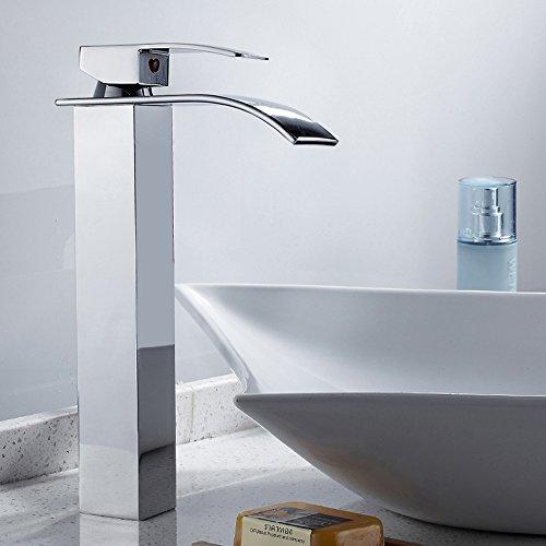 Wrighteu Waschtischarmatur Waschbeckenarmatur mit Wasserfall Wasserhahn Bad Mischbatterie Badarmatur für Waschbecken Spültisch Badezimmer Hoch aus Messing (Hohe Auslauf, Anodized)