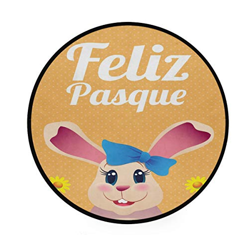 Happy Easter Tapis rond antidérapant doux pour le yoga et le jeu de bébé pour animal de compagnie pour chambre à coucher, salon, salle de jeux