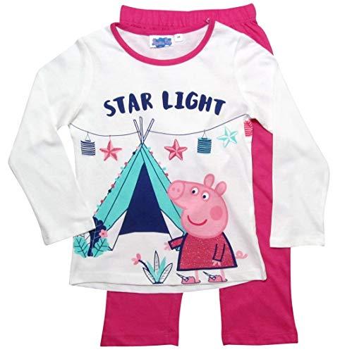 Peppa Wutz Schlafanzug Mädchen Pyjama Peppa Pig Lang (Weiß-Fuchsia, 110-116)