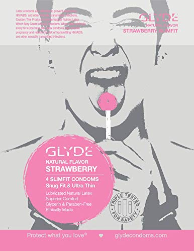 GLYDE Slimfit Flavored Condoms Small (Snug Fit) – Organic Strawberry Natural Condoms 4-Pack