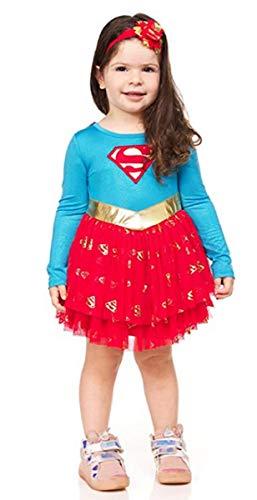 DC Comics Super Girl Baby Girls Costume Dress - Superhero Costumes for Toddler Girls (Blue/Red/Yellow, 3T)