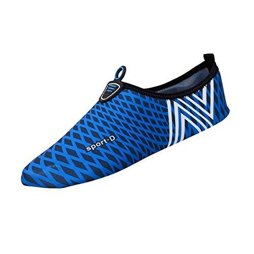 Barefoot Quick-Dry Water Sports Shoes Lightweight Aqua Socks for Swim Beach Pool Surf Yoga for Women Men (Dark Blue, 5)