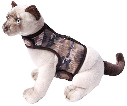 Beroni Katzengeschirr Cat Walking Jacket Brustgeschirr Weste ausbruchsicher No Escape Braun Camouflage Tarnfarben (Medium)