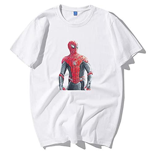 Camiseta para niños   Ropa para niños Avengers Spiderman Camiseta gráfica con cuello redondo, Idea de regalo de cumpleaños para niños Camiseta de entrenamiento Compresión (Size:XXXL,Color:blanco)