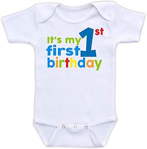 XieTao It's My First Birthday Boutique Baby Bodysuit Onesie Unisex Short Sleeve White