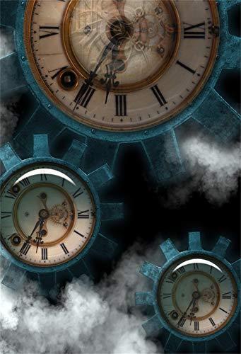 YongFoto 2x3m Vinilo Fondo de fotografía Vintage Steampunk Gear Metal Clock Fondo de Fumar Negro Telón de Fondo de Fotografía Estudio de Foto Studio Props