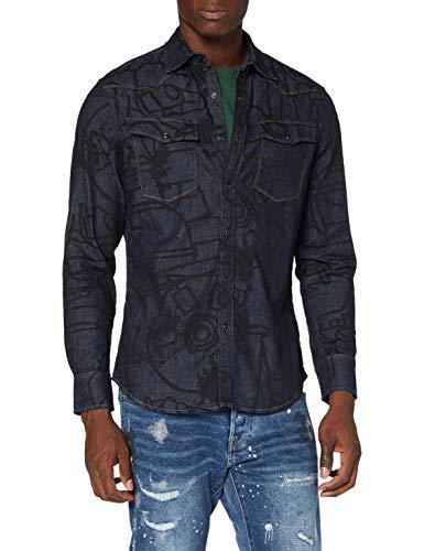 G-STAR RAW 3301 Slim Camisa, Salpicadura de dubuffet enjuagada C458-B809, Small para Hombre