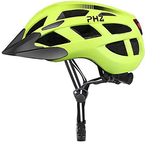 PHZ. Adult Bike Helmet with Rechargeable USB Light, BicycleHelmet for Men Women Road Cycling & Mountain Biking with Detachable Visor (Green Medium)