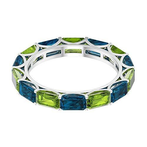 2,4 Karat Achteck Peridot Ring, 2,8 Karat 5 x 3 mm Blautopas London Ring, schwimmende Ewigkeit Band, Edelstein alternativer Ring, zierlicher Jahrestag Ring, 18K Weißes Gold, Size:EU 48